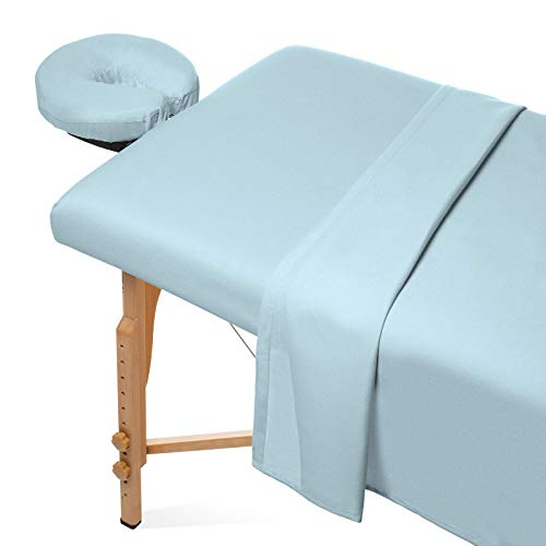 Sale Flannel - Saloniture 3-Piece Flannel Massage Table Sheet Set - Soft Cotton Facial Bed Cover - Includes Flat and Fitted Sheets with Face Cradle Cover - Blue