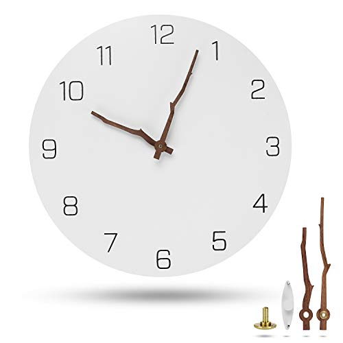 Acrux7 Large Wall Clock, 12 Inch Modern Wooden Wall Clock, White Round Wall Clocks Battery Operated Non Ticking- Single AA Battery Powered, Arabic with Bough Hands