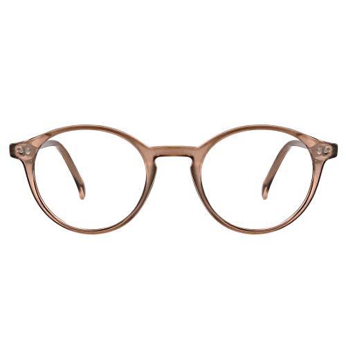 TIJN Blue Light Blocking Glasses Men Women Vintage Thick Round Rim Frame Eyeglasses (Wheat)