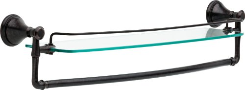 Delta Faucet 79711-RB Cassidy Bath Hardware Accessory 24'' Glass Shelf with Bar, SpotShield Venetian Bronze by DELTA FAUCET