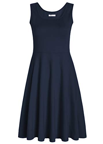 Pintage Women's Square Neck Sleeveless A Line Tank Dress L Navy ()