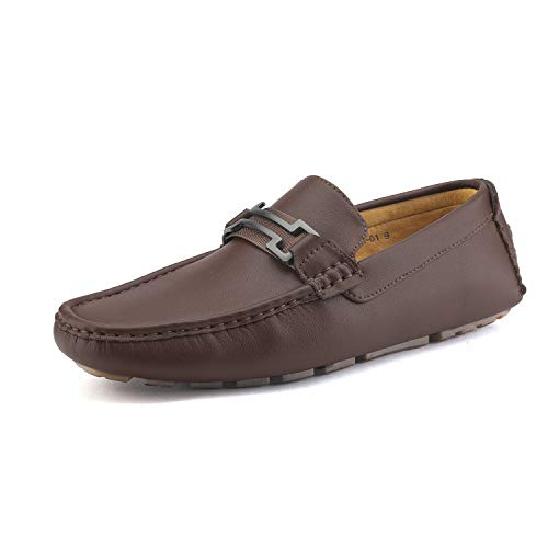 (Bruno Marc New York Men's Hugh-01 Coffee Faux Leather Driving Penny Loafers Boat Shoes - 9 M US)