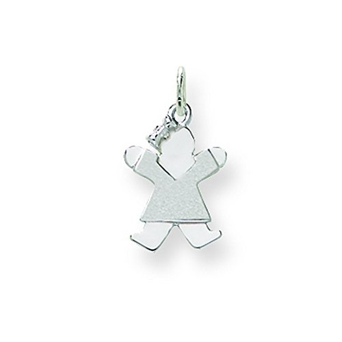14k White Gold Mini Girl Charm by Shop4Silver
