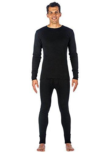 Mens 100% Cotton Light Weight Waffle Knit Tagless Thermal Top & Bottom Long John Underwear Set