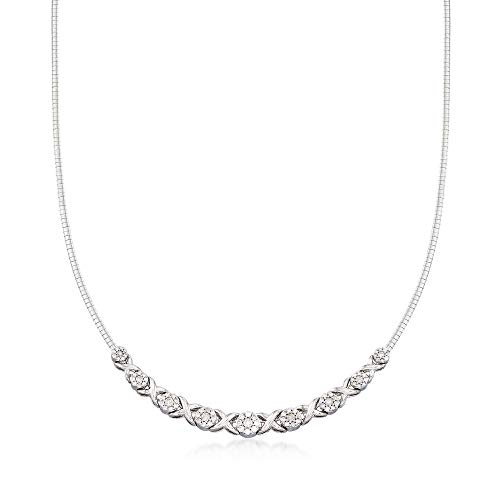 Ross-Simons 2.00 ct. t.w. Diamond Xo Omega Necklace in Sterling Silver -