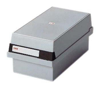 HAN 955-11, Karteikasten A5 quer, Innovatives, attraktives Design für 1.300 Karten, abnehmbarer Deckel inklusive großem Beschriftungsfeld, lichtgrau