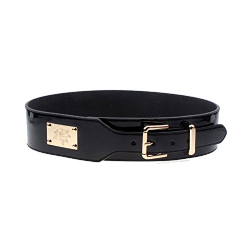 s belts wide solid color patent leather pin buckle
