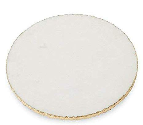 INA KI Natural Marble Cheese/Serving board with Golden Foiling - 9 Inch Dia