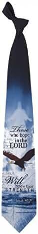 Mens 100% Silk Blue Renew Their Strength Isaiah 40:31 Christian Necktie Tie Neckwear