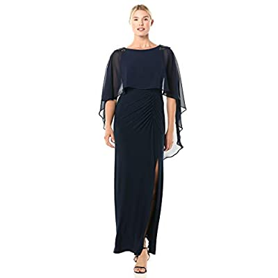 Adrianna Papell Women's Chiffon Capelet Jersey Gown at Amazon Women's Clothing store