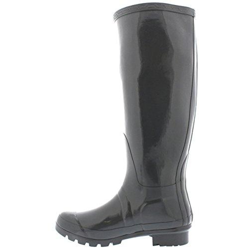 Womens Original Tall Gloss Winter Waterproof Wellies Rain Wellington Boots Grey oOrNDdHw