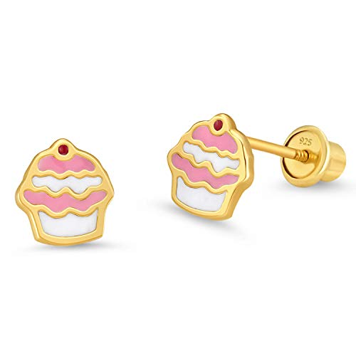 Enamel Cupcake - 14k Gold Plated Enamel Cupcake Baby Girls Screwback Earrings with Sterling Silver Post