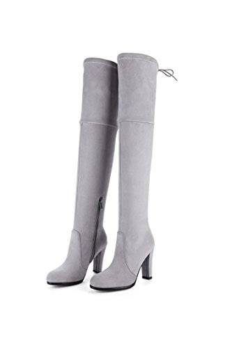 alto ruvida White scarpe Rice Donna alto lunghi stivali il QIN sopra amp;X tacco ginocchio x6qIwRETA