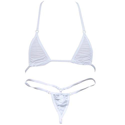 iEFiEL Women Micro G-String Bikini 2 Piece Sliding Top Thong Small Bra (White)