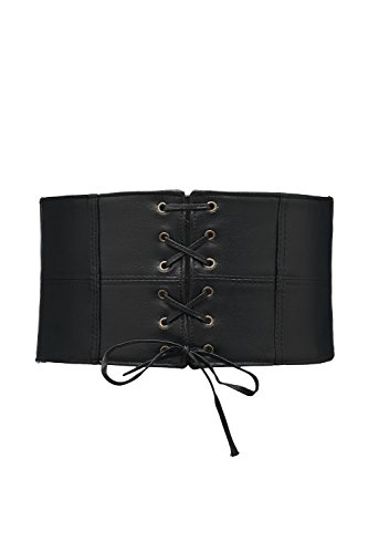Faux Leather Waist Cincher Stretch Underbust Waspie Lace Up Corset Tied Wide Belt (Black, Aged brass (Front Lace Up Back Cinch)