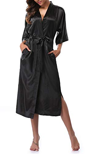 Womens Pure Color Long Satin Bathrobe Kimono Nightgown Long Dress Gown Black