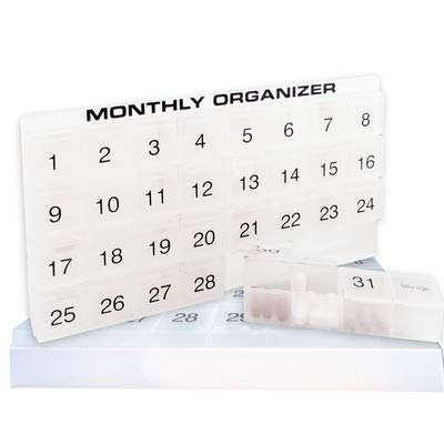 31 Day Supply (31 compartments, 1 per Day, 4 Week Monthly Pill Organizer by Promed. Includes Tray and 8 Removable compartments. (White))