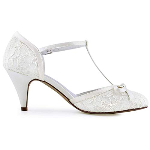 Belle Uk Taille Rétro Chaussures Mariage Hhgold Mariée Noeud Dames 2 Ivoire 5 strap coloré Dentelle T tZExPw1q