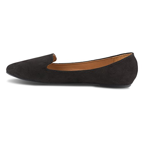 Twisted Womens Faux Suede Smoking Slipper Flats - SARA125 Black, Size 7 by Twisted (Image #6)