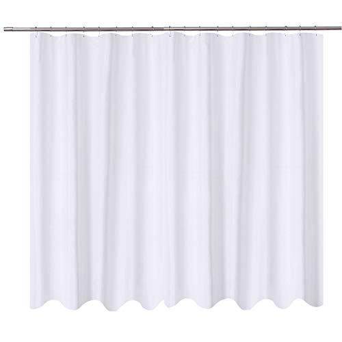 Shower Curtain Liner Fabric - 108 x 72 inch, Hotel Quality, Washable, Water Repellent, White Spa Bathroom Curtains with Grommets ()