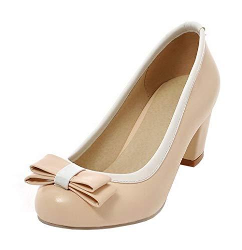 Puntera Tacón Zapatos tacón Colores Beige PU Mujeres Redonda GMXDB006128 AgooLar de Surtidos Medio YqAII1