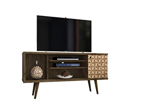Manhattan Comfort 200AMC97 Liberty Mid-Century Modern Living Room TV Stand, Small, Brown/3D Print