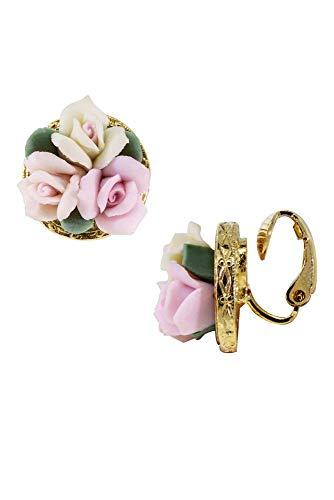 Porcelain Bouquet Clip-On Earrings Style 78378, Pink