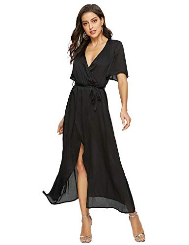 Escalier Women's Floral Maxi Dress Split Beach Flowy Party Dresses with Belt Black ()