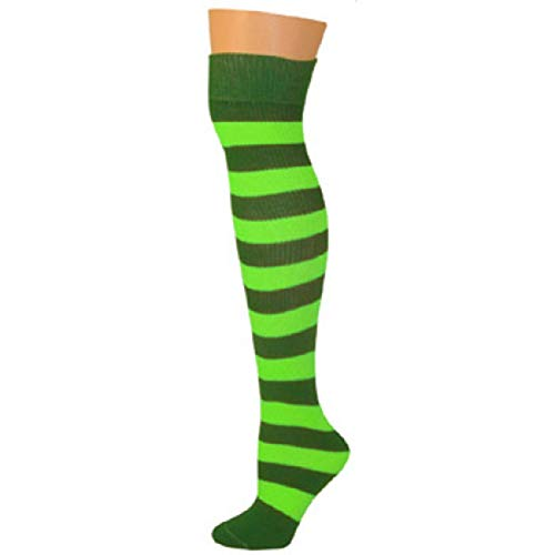 Halloween In The Usa (AJs Adult Long Knee High Striped Socks, Sock size 11-13, Shoe Size 5 and up, Made in)