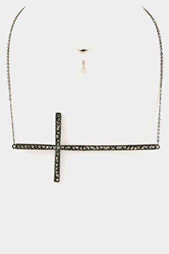 Rhinestone Hematite Cross (Karmas Canvas Side Big Cross Rhinestone Necklace (Hematite))