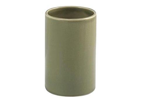 H&H Linea Bagno Bicchiere Bagno, Ceramica, Verde bicchieri; porta; spazzolini