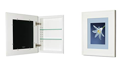 14x18 White Concealed Medicine Cabinet (Large), a Recessed Mirrorless Medicine Cabinet with a Picture Frame Door (Available in Multiple Colors & Styles) (Concealed Medicine Cabinet)