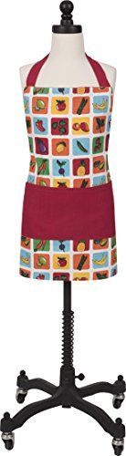 Handstand Kitchen Child's 100% Cotton 'Farmers Market' Apron with Wide Double Pocket