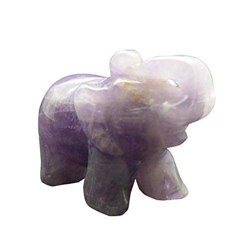 Amethyst Elephant - SHZONS Healing Crystal, Elephant Animal Pocket Stone Elephant Statue Figurine Jade Stone Desktop Decoration Ornament