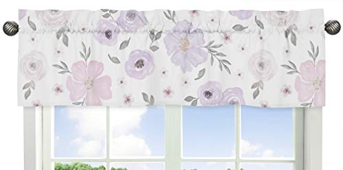 (Sweet Jojo Designs Lavender Purple, Pink, Grey and White Window Treatment Valance for Watercolor Floral Collection - Rose Flower)