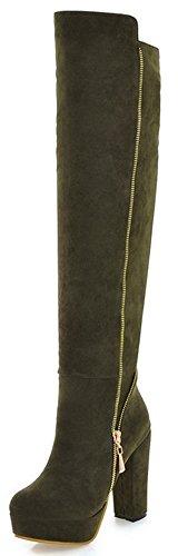 High Heel Army Boots (Summerwhisper Women's Stylish Faux Suede Plain Round Toe Biker Boots Side Zipper Chunky High Heel Platform Knee High Boots Army Green 7.5 B(M) US)