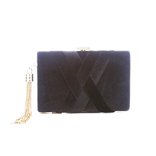 LeahWard Women's Tartan Stripe Clutch Bag Wedding Purse Tassel Handbags Evening Bags Black