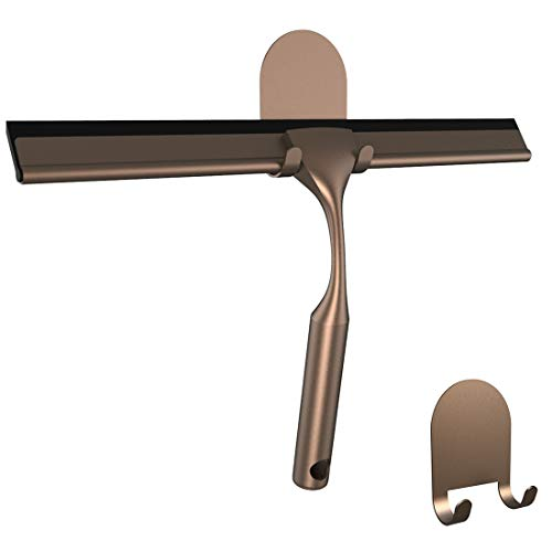 HOME SO Shower Squeegee with 3M Adhesive Holder - Bronze, Stainless Steel ()