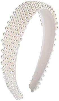 Diadema de Perlas Tocado de Perlas Accesorios para el Cabello para Mujeres … (Blanco)