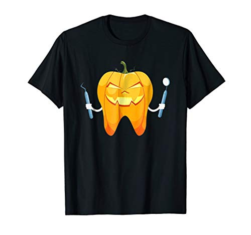 Halloween Tooth Pumpkin Dentist Shirt Funny Dental Tshirt -