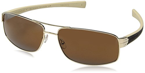 TAG HEUER 66 0255 705 641603 Rectangular Sunglasses, Gold, 64 mm
