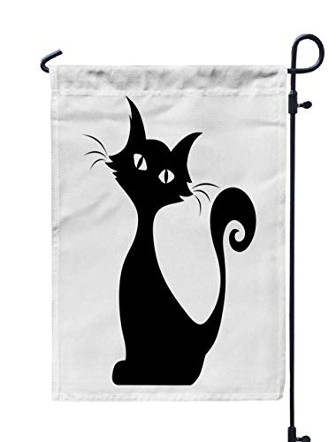 GROOTEY Welcome Outdoor Garden Flag Home Yard Decorative 12X18 Inches Black Silhouette Sitting Cat Double Sided Seasonal Garden Flags -