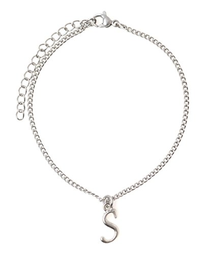 """It's All About...You! 7.5"""" - 9.5"""" Stainless Steel Ankle Bracelet with Alloy Initial Letter S 49S"""