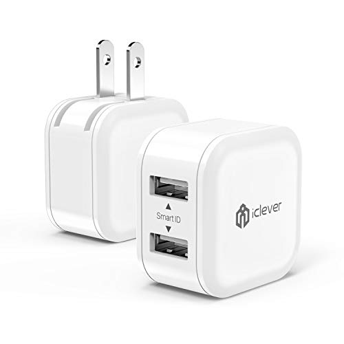 iClever BoostCube Mini 2-Pack 12W Dual USB Wall Charger Universal Power Adapter with Foldable Plug for Samsung Galaxy, LG, HTC, Huawei, Moto, Kindle, MP3, Bluetooth Speaker Headset and More, White