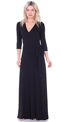 Popana Womens Casual Faux Wrap Long Floral Maxi Dress 3/4 Sleeves - Made in USA Large Black