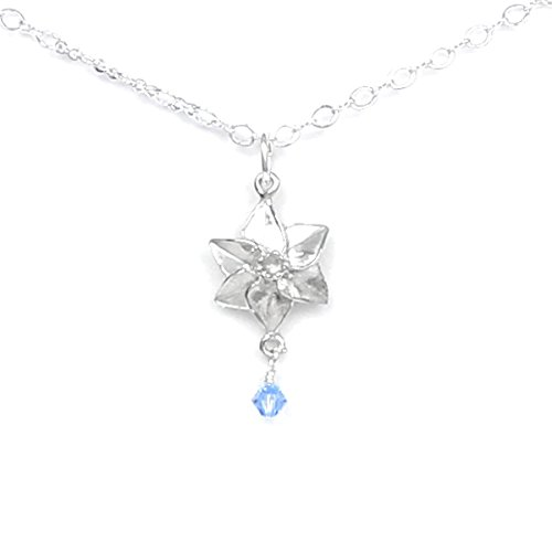 (March Flower Daffodil Necklace with Birthstone Colored Crystal - Gift Packaged - Handcrafted Pewter Made in USA)