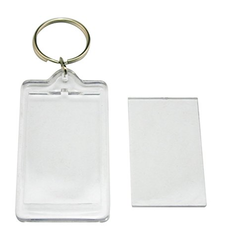 24Pcs Clear Acrylic Blank Insert Photo Picture Frame Keychain Keyring, Rectangle