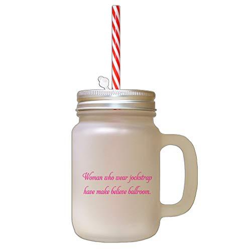 Hot Pink Woman Wear Jockstrap Has Make Believe Ballroom Frosted Glass Mason Jar With Straw