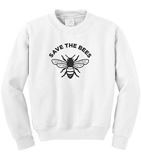 NuffSaid Save The Bees Crewneck Sweathisrt - Unisex Honey Bee Environment Crew (Small, White)