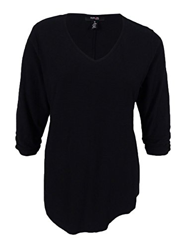 Style & Co Shirt Top (Style & Co. Womens Plus Slub Ruched Sleeves Casual Top Black 1X)